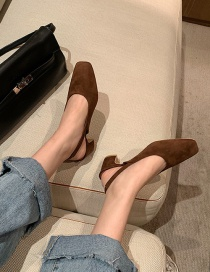 Fashion Brown Mid-heel Square-toe Thick-heel Elastic Single Shoes