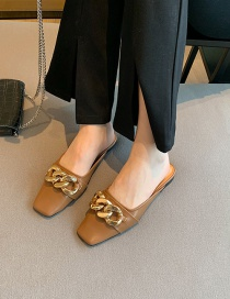 Fashion Brown Baotou Flat Bottom Square Head Metal Chain Half Slippers