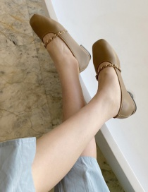 Fashion Khaki Chain Soft Sole Square Toe Flat Shoes
