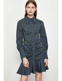 Fashion Grey Blue Lapel Pleated Check Dress