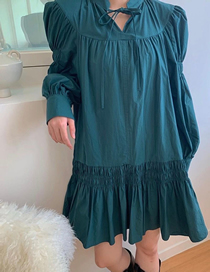 Fashion Dark Green Puff Sleeve Pleated Dress With Stand-up Collar And Waist