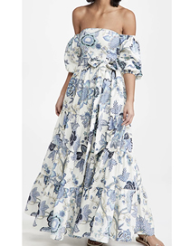 Fashion Blue Floral Off-the-shoulder Printed Belted Dress