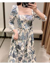 Fashion Blue Puff Shoulder Sleeve Square Neck Printing Long Dress
