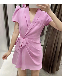 Fashion Purple V-neck Suit Dress With Belt