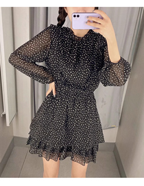 Fashion Black Polka Dot Print Long Sleeve Dress