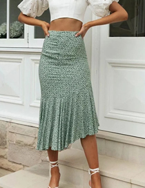 Fashion Green High Waist Printed Mermaid Skirt