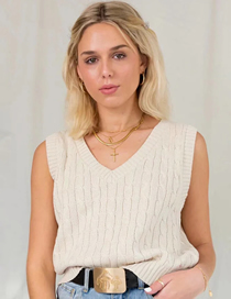 Fashion Creamy-white Twill V-neck Knitted Vest