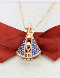 Fashion Gilded Double-sided Virgin Mary Gold-plated And Diamond-set Copper Pendant Necklace