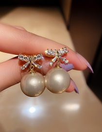 Fashion Silver Needle-champagne Real Gold Plating Micro-inlaid Zircon Bow Pearl Earrings