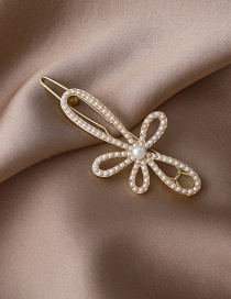 Fashion Gold Color Flower Pearl Alloy Hollow Hairpin