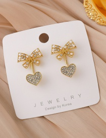 Fashion Gold Color Love Bow Pearl Earrings