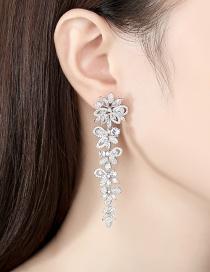 Fashion Silver Color Copper Petal Earrings