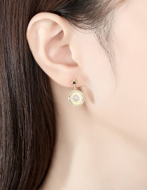 Fashion Gold Color Copper Flower Round Earrings