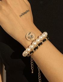 Fashion Gold Color Embossed Portrait Chain Imitation Pearl Alloy Multilayer Bracelet