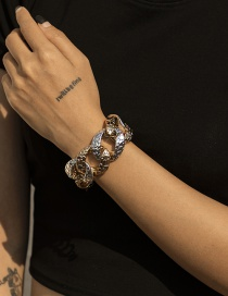 Fashion Color Mixing Thick Chain Snake Print Hit Color Bracelet