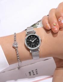 Fashion Black-faced Mesh Belt Disc Stainless Steel Quartz Watch