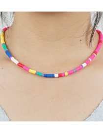 Fashion Color Mixing Soft Pottery Contrast Stainless Steel Necklace