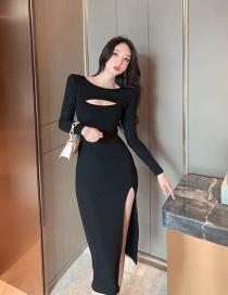 Fashion Black Hollow Slit Long Sleeve Dress