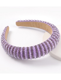 Purple Acrylic Wide Brim Sponge Crystal Beaded Headband