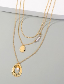 Fashion Gold Color Pearl Geometric Alloy Hollow Multilayer Necklace