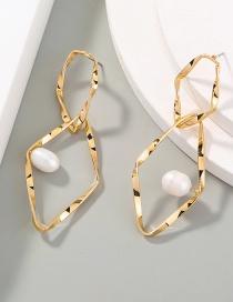 Fashion Gold Color Pearl Double Diamond Alloy Drop Earrings