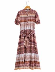 Fashion Printing Printed Belt Contrast Dress