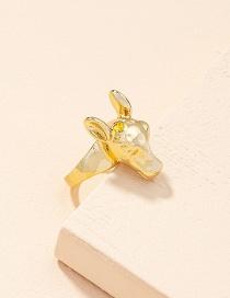 Fashion Golden Color Zodiac Horse Alloy Men S Ring