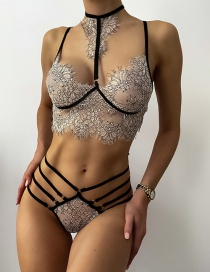 Fashion Black And White Perspective Solid Color Lace Cross Strap Hollow Underwear Set