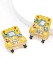 Fashion Yellow Alloy Drop Oil Diamond Pearl Bus Earrings