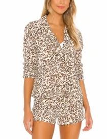 Fashion Leopard Animal Print Suit Collar Sleeve Shirt