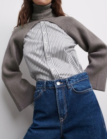 Fashion Gray Turtleneck Solid Color Ribbed Sleeve Sweater