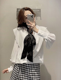 Fashion Photo Color Loose Long Sleeve Shirt Top With Bow Lapel Collar