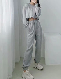 Fashion Gray Loose Straight Leg Pants With Elastic Waistband And Leg Opening