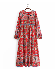 Fashion Red Printed Wide Loose Dress