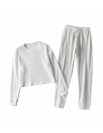 Fashion White Waffle Round Neck Top + Lace-up Pants Suit