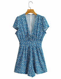 Fashion Blue Printed Short-sleeved Jumpsuit