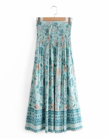 Fashion Blue Printed Elastic Waist Skirt With Front Slit