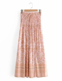 Fashion Apricot Printed Elastic Waist Skirt With Front Slit