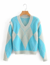 Fashion Blue V-neck Diamond Contrast Pullover