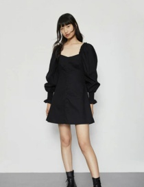 Fashion Black Shoulder Bag Button Puff Sleeve Dress