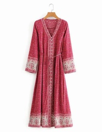 Fashion Rose Red Aster Print Long Sleeve Lace Up Dress