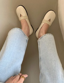 Fashion Apricot One-step Soft-soled Flat Square-toed Shoes