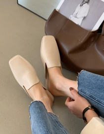 Fashion Off-white Baotou Flat-bottomed One-step Half Slippers