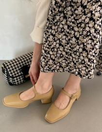 Fashion Yellow Thick Mid-heel Square Toe Shoes