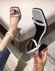 Fashion White High-heeled Sandals With Open Toe And Square Back