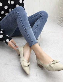 Fashion Off White Bowknot Shallow Mouth Pointy Thick Heel Soft Leather Shoes