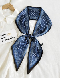 Fashion 10 Small Grid Cashew Navy Thin And Long Double-sided Printed Silk Scarf