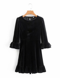 Fashion Black Flared Sleeve Round Neck Velvet Dress