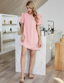 Fashion Pink Solid Color High Waist A-line Skirt