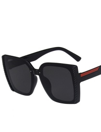 Fashion Bright Black And Gray Flakes Square Uv 5271 Concave Shape Sunglasses
